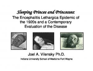 Sleeping Princes and Princesses: The Encephalitis Lethargica Epidemic of the 1920s and a Contemporary Evaluation of the Disease
