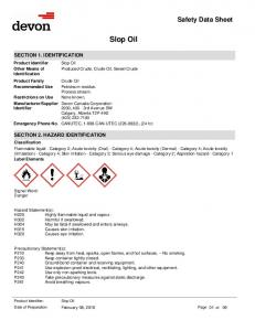 Slop Oil. Devon Canada Corporation 2000, 400-3rd Avenue SW Calgary, Alberta T2P 4H2 (403) CANUTEC, CAN-UTEC ( ), (24 hr)