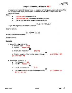 Slope, Distance, Midpoint KEY