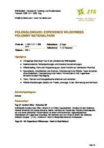 SLOWAKEI: EXPERIENCE WILDERNESS POLONINY NATIONALPARK