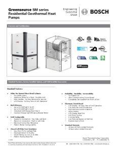 SM series Residential Geothermal Heat Pumps