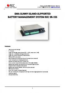 SMA SUNNY ISLAND-SUPPORTED BATTERY MANAGEMENT SYSTEM REC 9R-15S