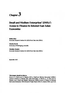 Small and Medium Enterprises (SMEs ) Access to Finance in Selected East Asian Economies