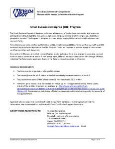 Small Business Enterprise (SBE) Program