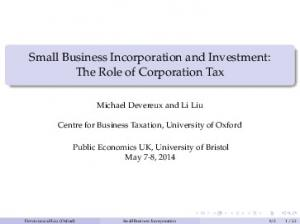 Small Business Incorporation and Investment: The Role of Corporation Tax