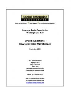 Small Foundations: How to Invest in Microfinance