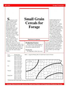 Small Grain Cereals for Forage