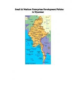 Small & Medium Enterprises Development Policies in Myanmar