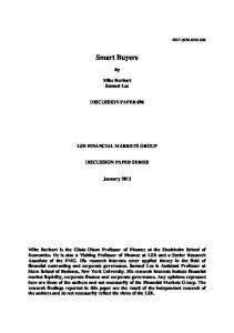 Smart Buyers. Mike Burkart Samuel Lee DISCUSSION PAPER 696 LSE FINANCIAL MARKETS GROUP DISCUSSION PAPER SERIES