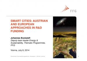 SMART CITIES: AUSTRIAN AND EUROPEAN APPROACHES IN R&D FUNDING
