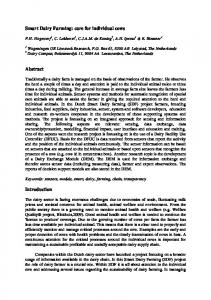 Smart Dairy Farming: care for individual cows. Abstract. Introduction