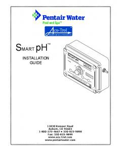 SMART phtm INSTALLATION GUIDE. Smart ph Water Chemistry Controller