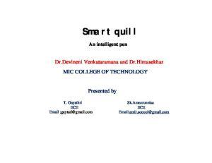 Smart quill An intelligent pen