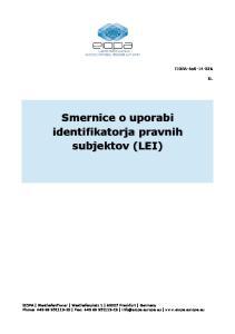 Smernice o uporabi identifikatorja pravnih subjektov (LEI)