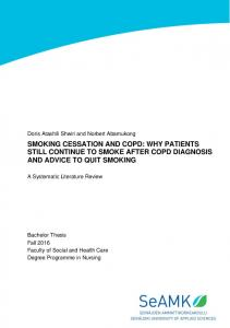 SMOKING CESSATION AND COPD: WHY PATIENTS STILL CONTINUE TO SMOKE AFTER COPD DIAGNOSIS AND ADVICE TO QUIT SMOKING