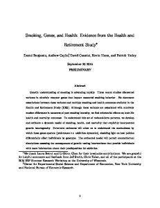 Smoking, Genes, and Health: Evidence from the Health and. Retirement Study