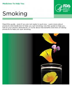 Smoking. Medicines To Help You