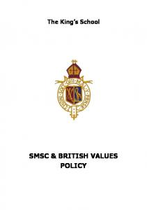 SMSC & BRITISH VALUES POLICY