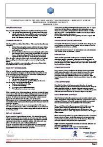SMSF ASSOCIATION PROFESSIONAL INDEMNITY SCHEME PROFESSIONAL INDEMNITY INSURANCE PROPOSAL FORM