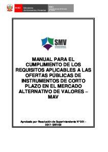SMV. Superintendencia del Mercado de Valores