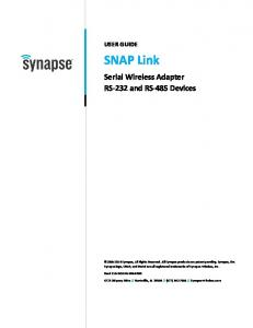 SNAP Link. Serial Wireless Adapter RS-232 and RS-485 Devices USER GUIDE