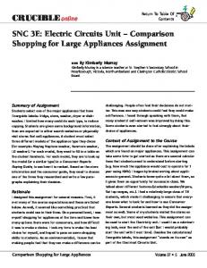 SNC 3E: Electric Circuits Unit Comparison Shopping for Large Appliances Assignment
