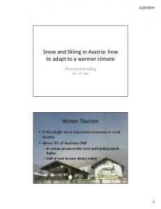 Snow and Skiing in Austria: how to adapt to a warmer climate. Winter Tourism