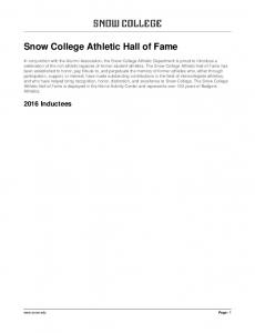Snow College Athletic Hall of Fame
