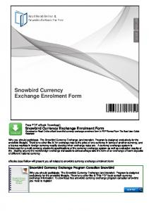 Snowbird Currency Exchange Enrolment Form