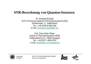 SNR-Berechnung von Quanten-Sensoren