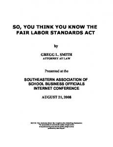 SO, YOU THINK YOU KNOW THE FAIR LABOR STANDARDS ACT