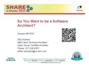 So You Want to be a Software Architect?
