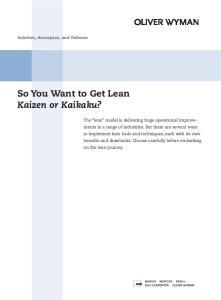So You Want to Get Lean Kaizen or Kaikaku?
