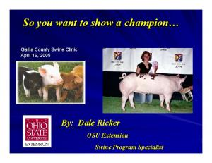So you want to show a champion