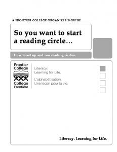 So you want to start a reading circle