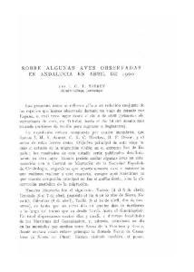 SOBRE ALGUNAS AVES OBSERVADAS EN ANDALUCIA EN ABRIL DE 1960