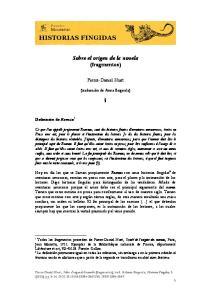 Sobre el origen de la novela (fragmentos)