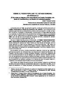 SOBRE EL PODER POPULAR Y EL ESTADO COMUNAL EN VENEZUELA