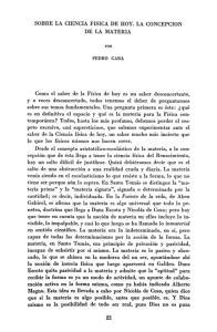 SOBRE LA CIENCIA FISICA DE HOY. LA CONCEPCION DE LA MATERIA