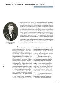Sobre la lectura de las Obras de Nietzsche