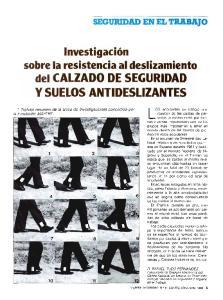 sobre la resistencia al deslizamiento del CALZADO DE SEGURIDAD