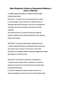 Sobre Requisitos Fiscales en Documentos Relativos a Actos o Contratos