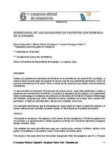 SOBRECARGA DE LOS CUIDADORES DE PACIENTES CON DEMENCIA DE ALZHEIMER