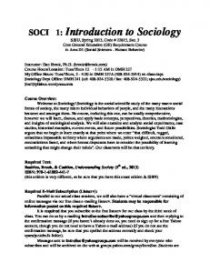 SOCI 1: Introduction to Sociology