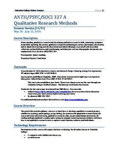 SOCI 327 A Qualitative Research Methods