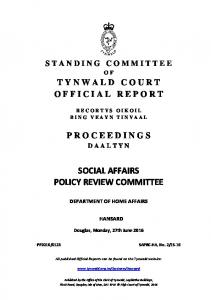 SOCIAL AFFAIRS POLICY REVIEW COMMITTEE