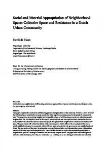 Social and Material Appropriation of Neighborhood Space: Collective Space and Resistance in a Dutch Urban Community