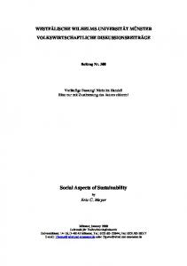 Social Aspects of Sustainability