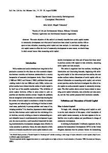 Social Capital and Community Development: Conceptual Framework