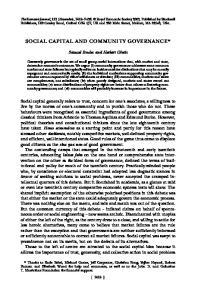 SOCIAL CAPITAL AND COMMUNITY GOVERNANCE*
